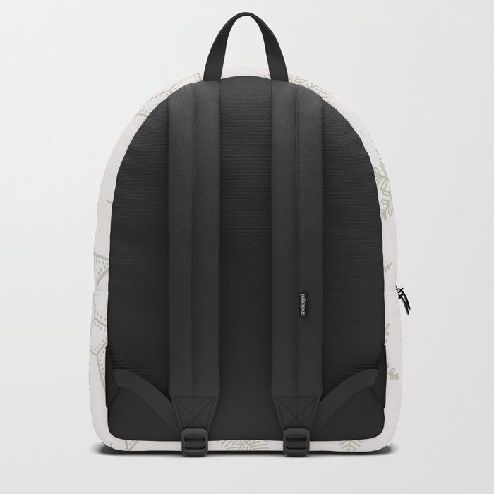 Beige Snowflakes on white background Backpack