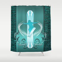 snowboarding Shower Curtains featuring Snowboarding by nicky2342