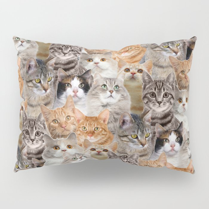 cats pattern lot of funny animals cheesy crazy Pillow Sham