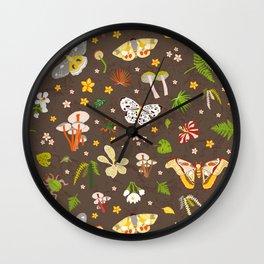 woodland moths pattern Wall Clock