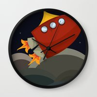 rocket Wall Clocks featuring Rocket by S. Vaeth