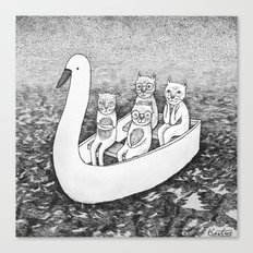 4 cats on a boat Canvas Print