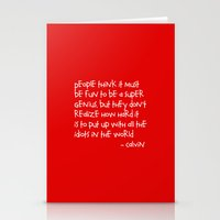 calvin and hobbes Stationery Cards featuring Calvin and Hobbes quote by Dustin Hall