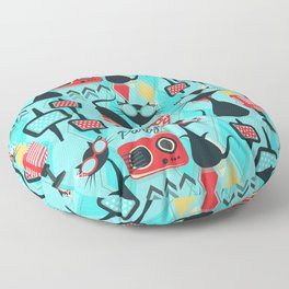 Retro Party Kitties V.01 Floor Pillow