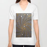 champagne V-neck T-shirts featuring Gold & Champagne by Kat Dermane