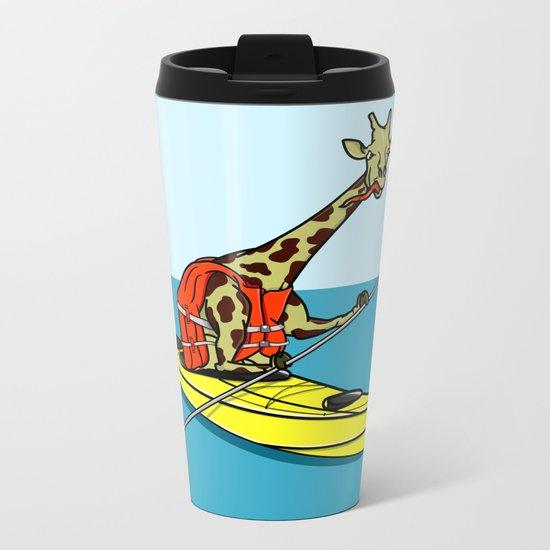 Giraffe Sea Kayaking Metal Travel Mug