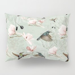 Vintage Watercolor hummingbird and Magnolia Flowers on mint Background Pillow Sham