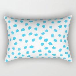 Aqua Teal Dots Polkadots on White Background - Mix & Match Rectangular Pillow