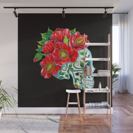 Sugar Skull with Red Poppies Wall Mural