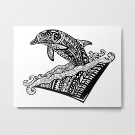 Playful Dolphin Zentangle (abstract doodle) Metal Print