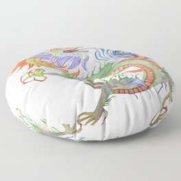 Bright and Vivid Chinese Fire Dragon Vector Floor Pillow