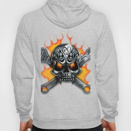 Flaming Skull and Wrenches Hoody