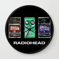 radiohead Wall Clocks featuring Radiohead Pedals Bedroom Rockstar  by James Peart