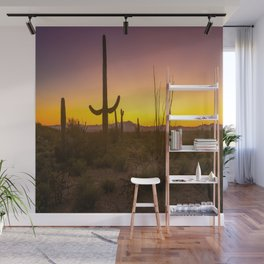 Spirit of the Southwest - Saguaro Cactus and Desert Plant Life in Warm Glow of Arizona Sunset Wall Mural