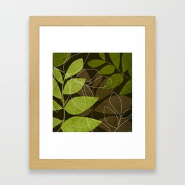 Green Brown Leaves Framed Art Print