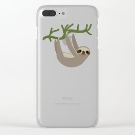 cute Three-toed sloths on green branch Clear iPhone Case