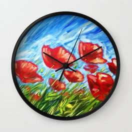 Wild Poppies by Ira Mitchell-Kirk Wall Clock