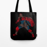 steve rogers Tote Bags featuring Steve Rogers (CA) - Black Background by MajesticSeahawk Designs