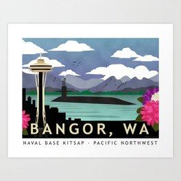 Bangor, WA - Retro Submarine Travel Poster Art Print