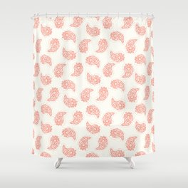 Hand drawn coral red paisley damask illustration. Shower Curtain