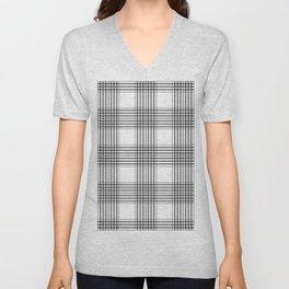 Gray & White Plaid Unisex V-Neck