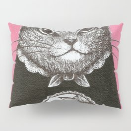 Pink Cat - Ink and acrylic cat art Pillow Sham