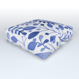 Branches and leaves - blue Outdoor Floor Cushion