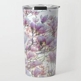 Magnólias rosa florescendo na primavera!! Travel Mug