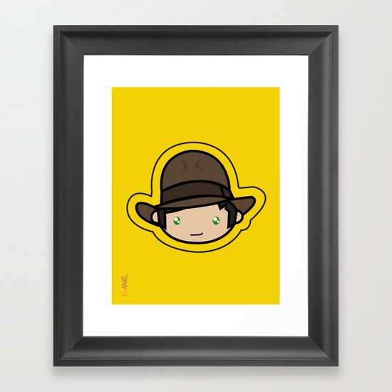Indiana Jones Kawaii Framed Art Print