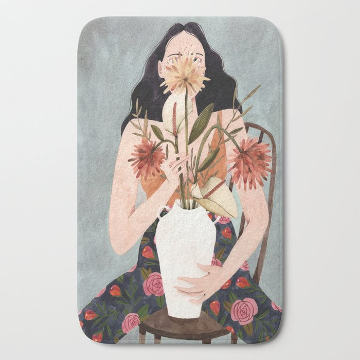 Hilda with vase Bath Mat