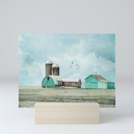 Aqua Barns Mini Art Print