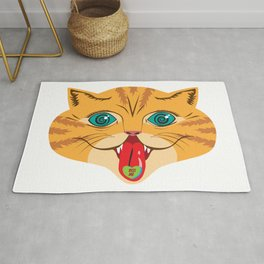 Kiss Me Ginger Cat Rug