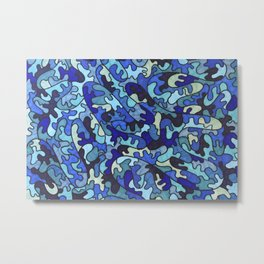 Shades of Blue Puzzle Pieces Metal Print