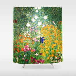 "Gustav Klimt ""Flower garden"" Shower Curtain"