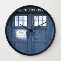 tardis Wall Clocks featuring Tardis by bimorecreative