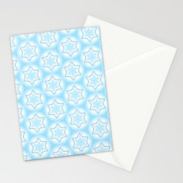 Shiny light blue winter star snowflakes pattern Stationery Cards