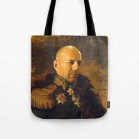 replaceface Tote Bags featuring Bruce Willis - replaceface by replaceface
