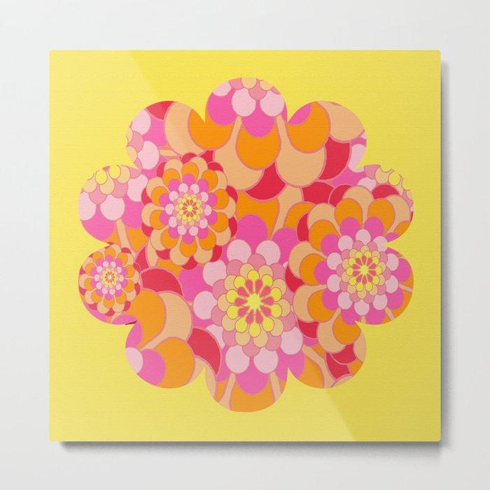 Summer Essence Bright Hippy Flowers On Yellow Metal Print