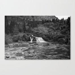 Redrock Falls bw - Glacier National Park Canvas Print