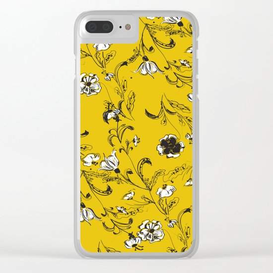 Yellow Floral Pattern Clear iPhone Case