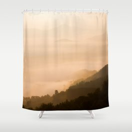 Modern Minimalist landscape Sepia Sunset Parallax Mountain Silhouette Shower Curtain
