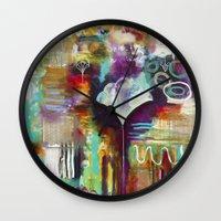"flora bowley Wall Clocks featuring ""Spirit Works"" Original Painting by Flora Bowley by Flora Bowley"