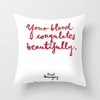 blood Throw Pillows featuring Blood-white by Kamoli Design