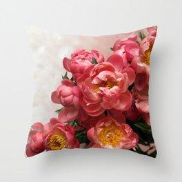 Peony Cascade Throw Pillow