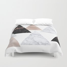 Marble rose gold geometric triangles Duvet Cover