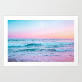Candy Waves | Pastel Ocean Shoreline off Coast of California  Art Print