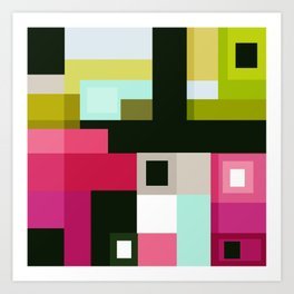 Colorful summer Mondrian abstract geometric design Art Print