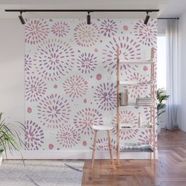 Abstract watercolor sparkles – pastel pink and ultra violet Wall Mural