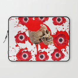 BLACK BLOODY RED EXPLODING BLOOD POPPIES SKULL ART Laptop Sleeve