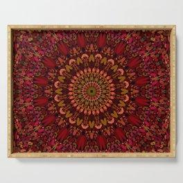 Bohemian Geometric Flower Mandala Serving Tray